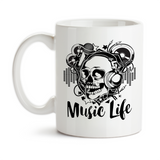 Coffee Mug, Music Life Funky Skull DJ Musician Headphones Singer Songs Musical Music Art