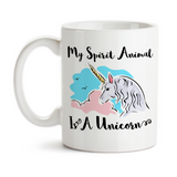 Coffee Mug, My Spirit Animal Is A Unicorn Pink Blue Believe In Unicorns Unicorn Art