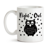 Coffee Mug, Night Owl Owl Art Stars Insomnia Up All Night Can't Sleep Wide Awake Night Shift