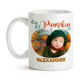 Coffee Mug, Personalized Our Lil Pumpkin Monogram Photo 001, Fall Pumpkin, Baby Keepsake