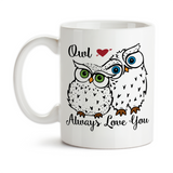 Coffee Mug, Owl I'll Always Love You 002 Two Owls Valentine's Day Anniversary Wedding Spouse, Gift Idea, Coffee Cup at GroovyGiftables.com