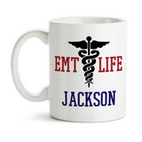 Coffee Mug, Personalized Monogram EMT Life EMS Emergency Medical Team Ambulance Service 911 Rescue