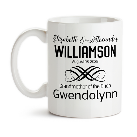 Coffee Mug, Personalized Wedding Party With Bride and Groom Date Est, Bridesmaid, Groomsman, & More