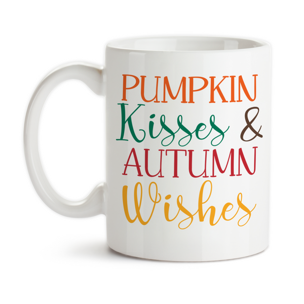 Coffee Mug, Pumpkin Kisses And Autumn Wishes Fall Autumn Typography Pumpkin Lover, Gift Idea, Coffee Cup at GroovyGiftables.com