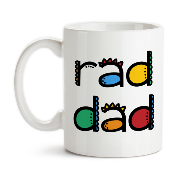 Coffee Mug, Rad Dad Father's Day Kids Teens Parenting Dad's Birthday Funky Colorful Christmas, Gift Idea, Coffee Cup at GroovyGiftables.com