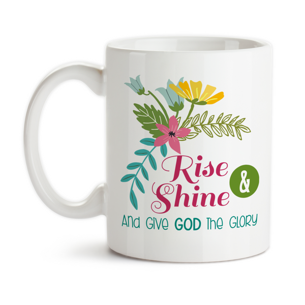Coffee Mug, Rise and Shine and Give God the Glory Bible Christian Gifts Inspirational Motivational, Gift Idea, Coffee Cup at GroovyGiftables.com