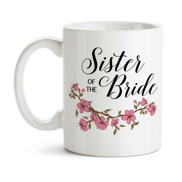 Coffee Mug, Sister Of The Bride Wedding Party SOTB Gift Pink Floral Bridal Party Wedding Gift, Gift Idea, Coffee Cup at GroovyGiftables.com