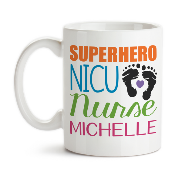 Coffee Mug, Monogram Superhero NICU Nurse, Preemie Nurse, Premature Baby, NICU Nurse