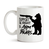 Coffee Mug, Support The Right To Arm Bears 2nd Amendment Rights Bear Arms