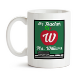 Coffee Mug, Personalized Monogram Teacher's Name Chalkboard Apple School Favorite Teaching Christmas