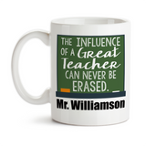 Coffee Mug, The Influence Of A Great Teacher, Favorite Teacher, Monogram Teacher's Name