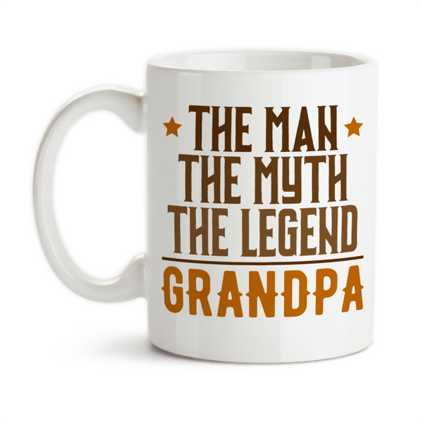 Coffee Mug, The Man The Myth The Legend Grandpa Hero Greatest Best Birthday Christmas Father's Day