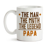 Coffee Mug, The Man The Myth The Legend Papa Masculine Greatest Best Hero Grandpa, Gift Idea, Coffee Cup at GroovyGiftables.com