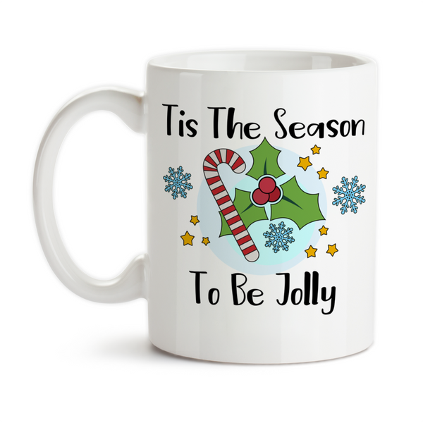 Coffee Mug, Tis The Season To Be Jolly WInter Christmas Candy Cane Snowflake Mistletoe Art, Gift Idea, Coffee Cup at GroovyGiftables.com
