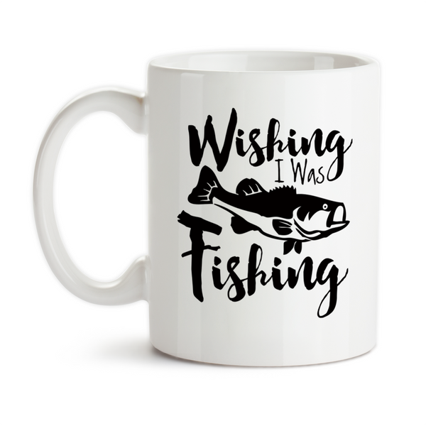 Coffee Mug, Wishing I Was Fishing Angler Catching Fish Fisherman Bass Go Fish Hobby Fishing, Gift Idea, Coffee Cup at GroovyGiftables.com