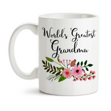 Coffee Mug, World's Greatest Grandma Grandchildren Grandson Granddaughter Best Mother's Day Birthday