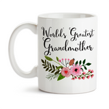 Coffee Mug, World's Greatest Grandmother Grandchildren Best Grandma Mother's Day Grandparent