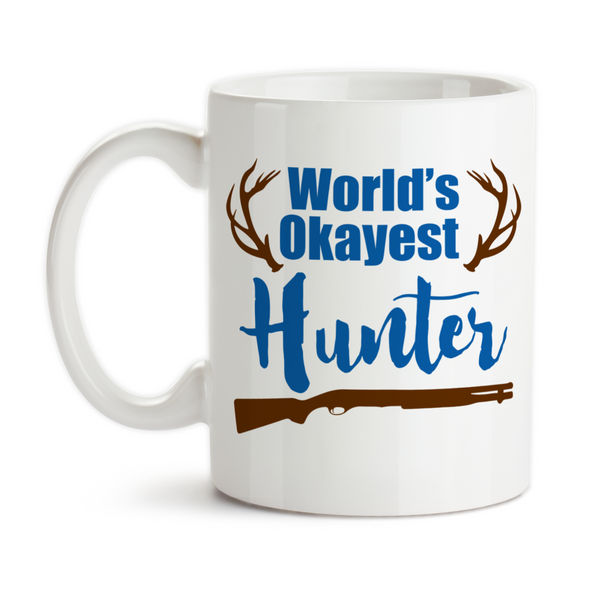 Coffee Mug, World's Okayest Hunter, Antlers Big Deer Rack, Hunting, Father's Day