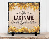 Slate Sign - Monogram Family Name Sign, Sunflower Family Sign, Housewarming, Home Decor
