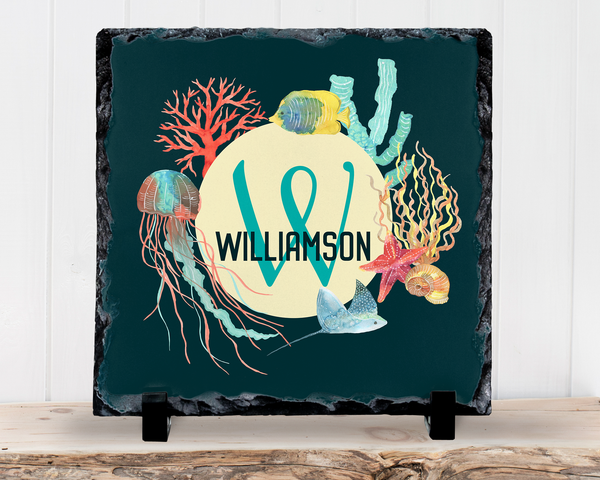 Slate Sign - Monogram Family Name Sign, Sea Life, Beach Ocean Watercolor, Housewarming , Home Decor