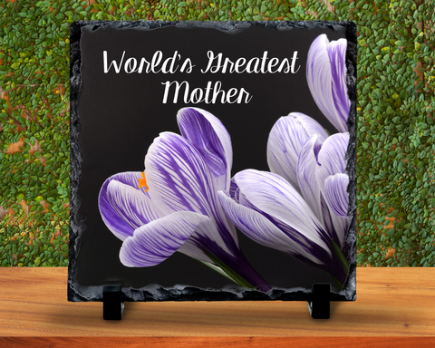 Slate Sign - World's Greatest Mother, Mother's Day, Mom's Birthday, Gift For Mom, Crocus, Home Decor