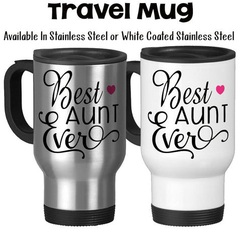 Travel Mug, Best Aunt Ever Favorite Aunt Gift For Aunt Aunt Mug Niece Nephew Baby Announcement, Stainless Steel, 14 oz - Gift Idea