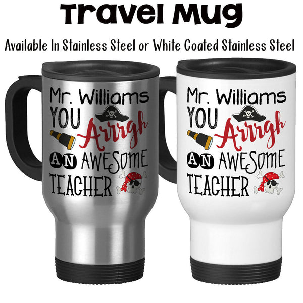Travel Mug, Personalized Pirate Teacher Gift, Pirate, Red, Gift For Male Teacher