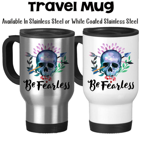 Travel Mug, Be Fearless Follow Your Dreams Graduation Gift Watercolor Art Your Future Follow Your Path, Stainless Steel, 14 oz - Gift Idea