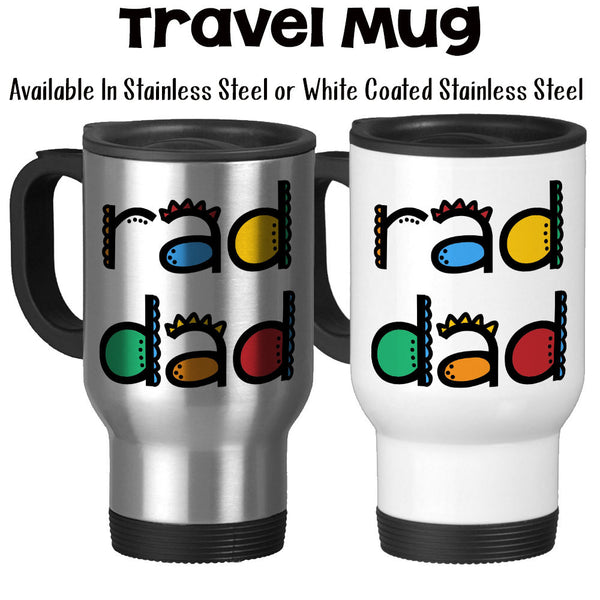 Travel Mug, Rad Dad Father's Day Kids Teens Parenting Dad's Birthday Dad Mug Gift For Dad Funky, Stainless Steel, 14 oz - Gift Idea