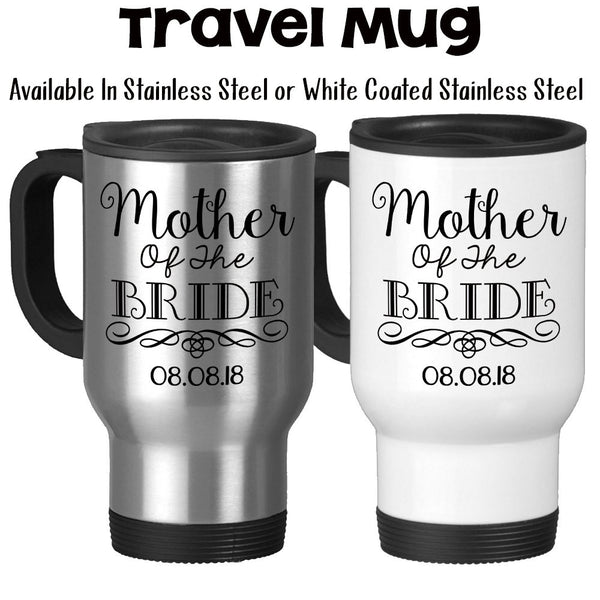 Travel Mug, Mother Of The Bride 004 MOTB Gift Swirl Elegant Bridal Party Mother Of The Bride Gift Wedding, Stainless Steel, 14 oz at GroovyGiftables.com