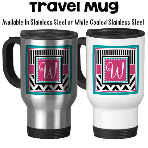 Travel Mug, Chic Chevron 001, Monogram Initial Gift, Pink Teal Black White