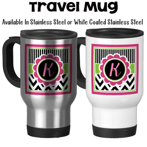 Travel Mug, Chic Chevron 002, Monogram Initial Gift, Pink Lime Black White