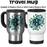 Travel Mug, Flower Monogram 3 Initials 001 Monogram Mug Personalized Flower Monogram Gift Monogram Gift, Stainless Steel, 14 oz - Gift Idea at GroovyGiftables.com