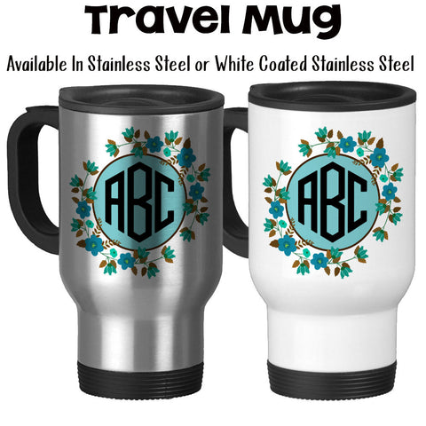 Travel Mug, Flower Monogram 3 Initials 001, Personalized, Flower Monogram, Monogram Mug