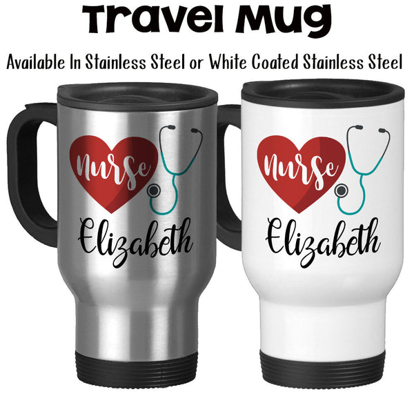 Travel Mug, Personalized Monogram Nurse Gift, Stethoscope Art, RN, Nursing, I'm A Nurse