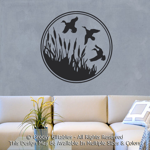 Wall Decal, Man Cave Mancave Duck Hunter Cattails Vinyl , Sticker Father Husband Masculine Hunting at GroovyGiftables.com