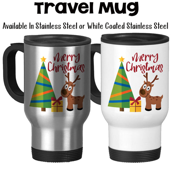 Travel Mug, Merry Christmas Reindeer Mug Christmas Tree Christmas Present Art Christmas Gift Christmas Art, Stainless Steel, 14 oz at GroovyGiftables.com