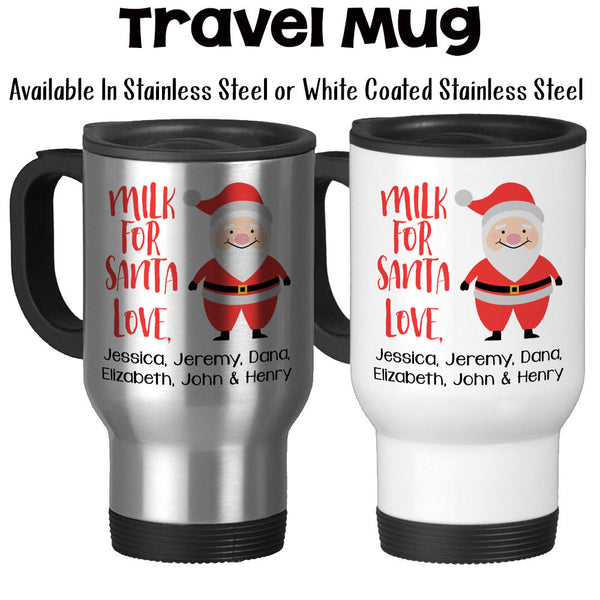 Travel Mug, Milk For Santa Mug Personalized Kids Names For Christmas Eve Christmas Mug Santa Mug Santa Art, Stainless Steel, 14 oz