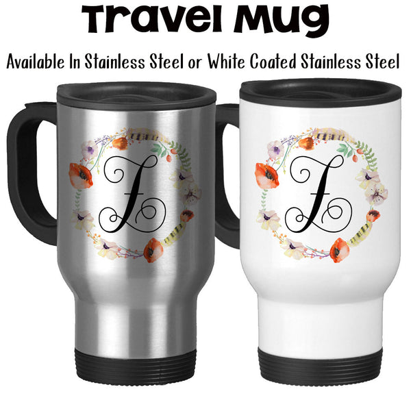 Travel Mug, Monogram Initial Gift Monogram Mug Girly Feminine Poppie Flower Wreath Feather Art Watercolor Art, Stainless Steel, 14 oz at GroovyGiftables.com