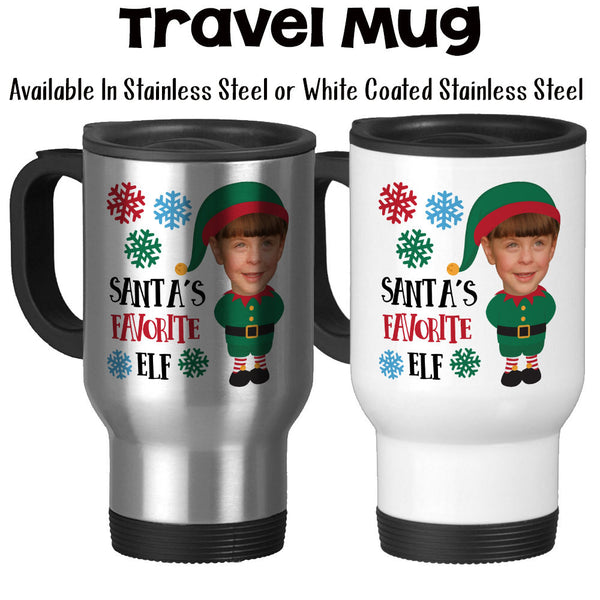 Travel Mug, Personalized Santa's Favorite Elf 001, Your Photo As An Elf, Christmas Photo
