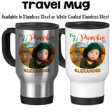 Travel Mug, Personalized Our Lil Pumpkin Monogram Photo 001, Fall Pumpkin, Baby Keepsake