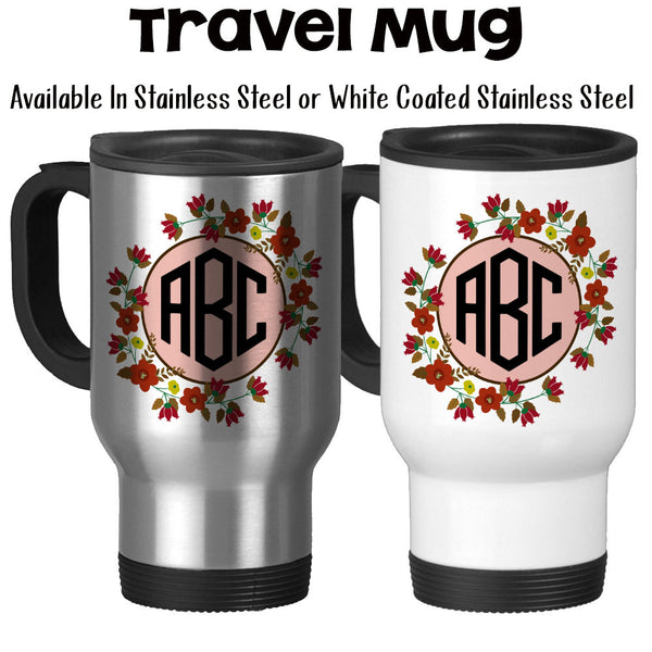 Travel Mug, Flower Monogram 3 Initials 002, Personalized, Flower Monogram, Monogram Gift