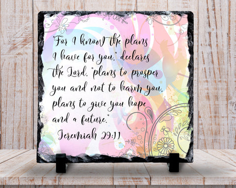 Slate Sign - Pastel Feminine Bible Verse Jeremiah 29:11 I Know The Plans I Have For You - Home Decor, Custom Personalized Slate Plaque Gift at GroovyGiftables.com