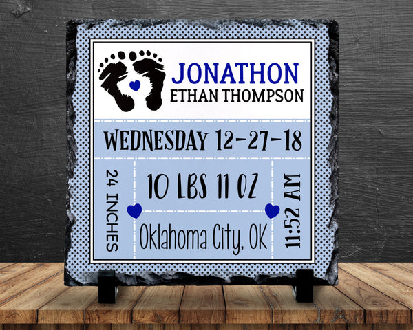 Slate Sign - Baby Boy Birth Announcement, Birth Stats, New Baby, Nursery, Baby Shower - Home Decor, Custom Personalized Slate Plaque Gift