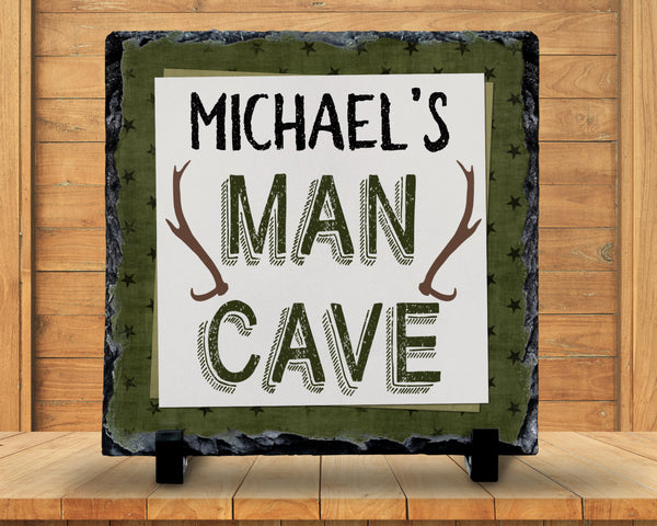 Slate Sign - Monogram Name Deer Antlers Man Cave Sign Decor, Fathers Day, Dads Birthday - Home Decor, Custom Personalized Slate Plaque Gift