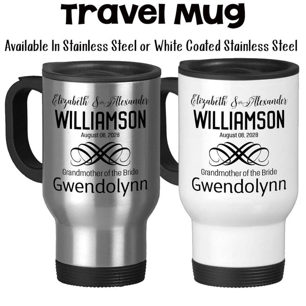Travel Mug,  Personalized Wedding Party With Bride and Groom Date Est, Bridesmaid, Groomsman, & More, Stainless Steel, 14 oz - Gift Idea at GroovyGiftables.com