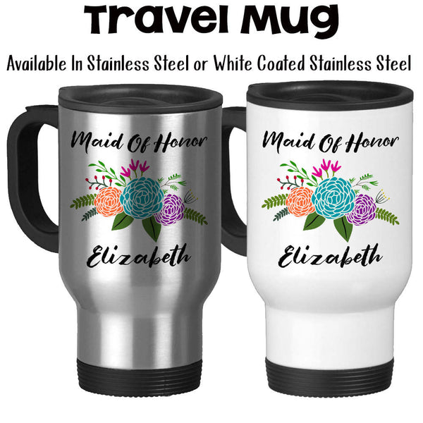 Travel Mug, Personalized Maid Of Honor Mug 001, Floral Maid Of Honor Gift, Wedding, Be My Maid Of Honor, Gift Idea, Stainless Steel, 14 oz at GroovyGiftables.com