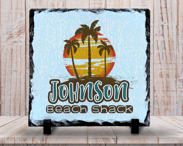 Slate Sign - Monogram Family Name Sign, Beach Shack Sign, Beach Decor, Beach Scene, - Home Decor, Custom Personalized Slate Plaque Gift at GroovyGiftables.com