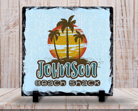 Slate Sign - Monogram Family Name Sign, Beach Shack Sign, Beach Decor, Beach Scene, , Home Decor