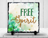Slate Sign - Free Spirit Artistic Watercolor Print Leaves and Birds, Be Yourself, Fly , Home Decor